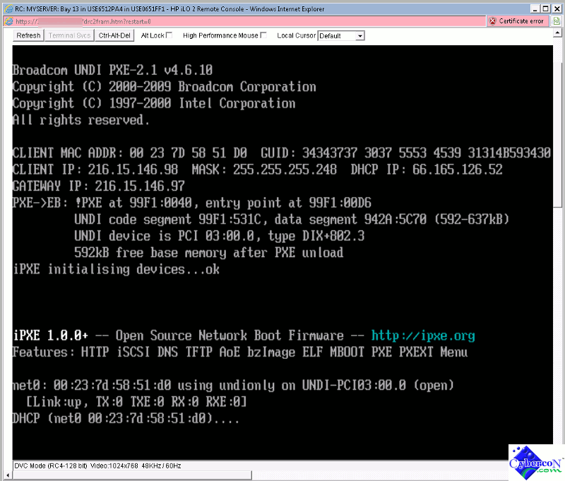 PXE boot with HP Blade Server -
