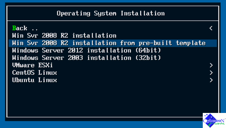 Windows 2008R2 installation with pre-built template via