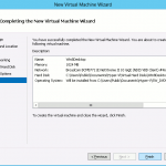 Completing the New Virtual Machine Wizard