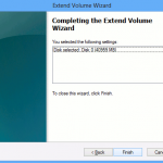Extend Volume Wizard : Finish